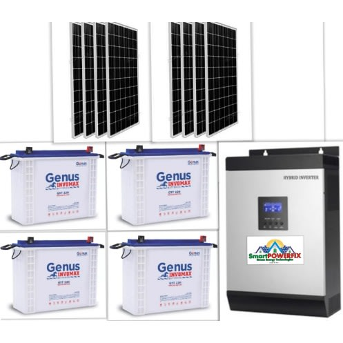 3.5kva Solar Powered Inverter With 4 Batteries And 8 Panels