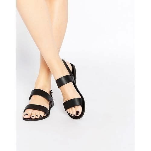 5ca0fb776 Bestizzy Ladies Double Strap Leather Sandals - Black