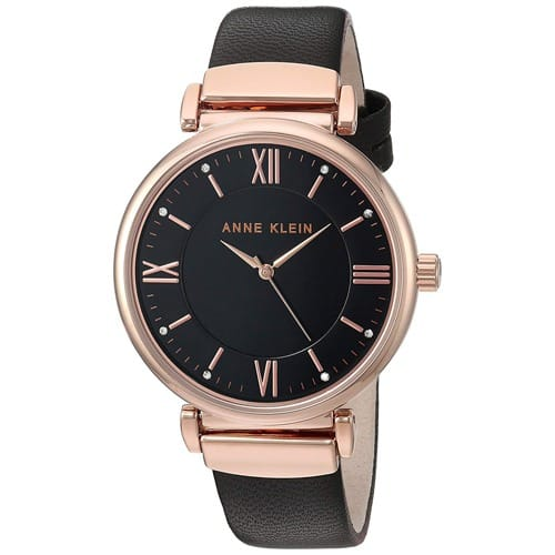 344e840c4 Anne Klein Women's Swarovski Crystal Accented Rose Gold-tone And Black  Leather - Ak/2666rgbk