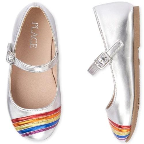 Girls Rainbow Ballerina Shoe-silver