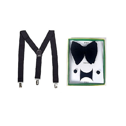 Suspenders & Bow Tie with Cuff Links For Men - Black