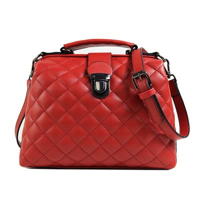 Nubuck Women's Leather Bag - Rose Red