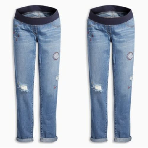 Faded Wash Blue Maternity Jeans