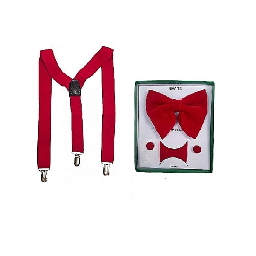 Suspenders & Bow Tie with Cuff Links For Men - Red