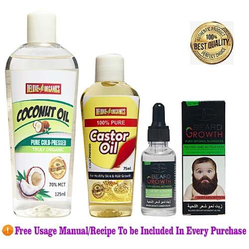 Organics Rapid Beard / Hair Growth Mix: 1 Castor Oil + 1 Coconut Oil +  Aichun Rapid Beard