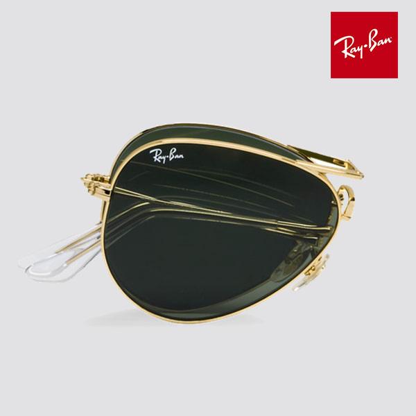 f2e37c239ba RB3479 Foldable Aviator Gold Metal Polarized Sunglasses