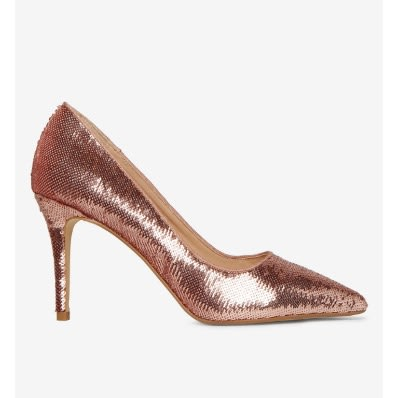 3bfe66b6659 Ezzy Sequin Court Shoes - Rose Gold