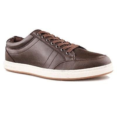 Perry Ellis Men s Prep Leather Sneakers - Brown  c07f3c1ad