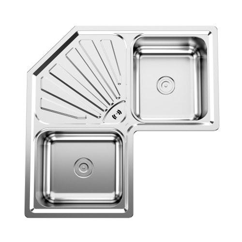 Double Kitchen Sink With Drainboard.Kitchen Double Bowl Sink With Drain Board