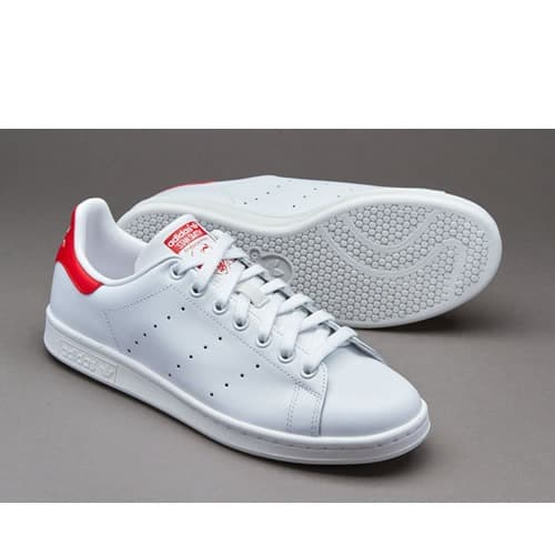 low priced e3525 76cc0 Men's Stan Smith Sneakers - All White With Touch Of Red
