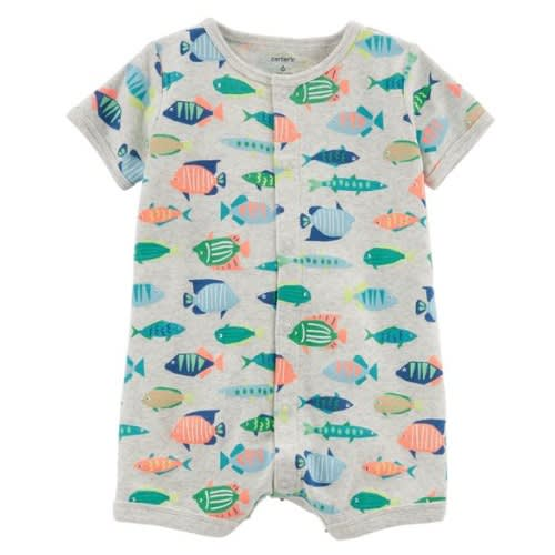 Fish Graphiced Baby Boy Romper