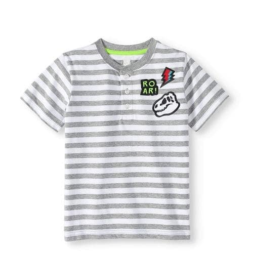 4e6d19ecb Garanimals 365 Kids Chest Striped Henley Boys T-shit Top -grey ...