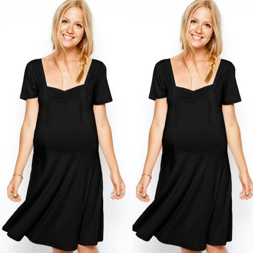 Sweetheart Neckline Black Maternity Dress