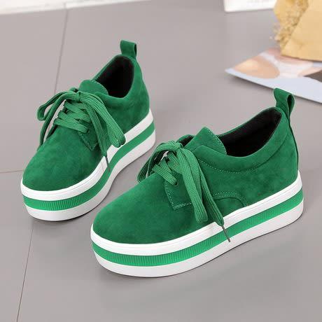Women's Platform Wedge Sneakers - Green