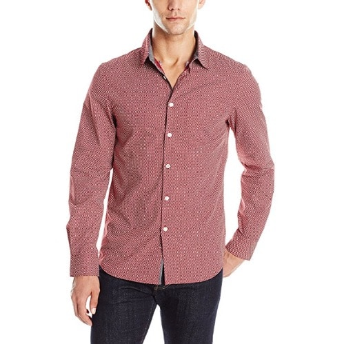 e699c105 Kenneth Cole Reaction Men's Long Sleeve Printed Shirt - Sedona Red ...