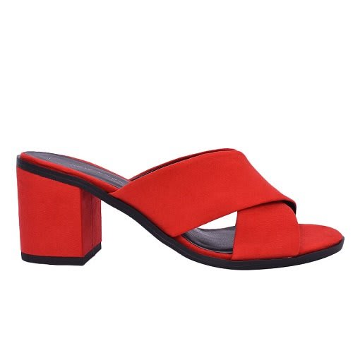 designer fashion really cheap size 40 Red Suedette Cross Strap Low Block Heel Mules | Konga Online Shopping