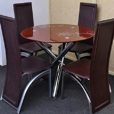 Round 4 Seater Glass Dining Set Brown