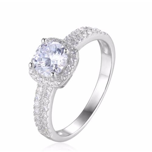 Cubic Zirconia Wedding Rings.Round Cubic Zirconia Engagement Ring Silver