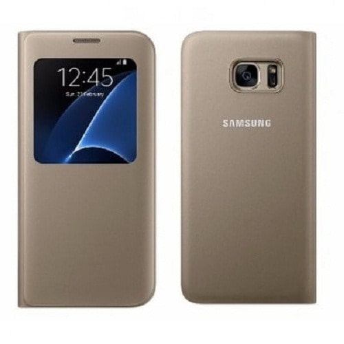 hot sales fa10d 0b452 S-View Flip Cover Smart Case for Samsung Galaxy S7 Edge -Gold