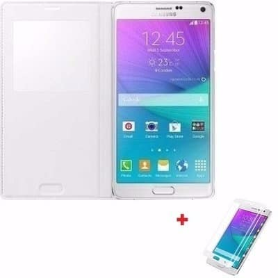 S-view Flip Cover Case with IC Sensor + Tempered Screen Protector for  Samsung Galaxy Note
