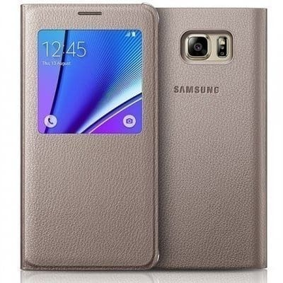 the best attitude 5515d 509ba S-view Leather Flip Case For Samsung Galaxy Note 4 with IC sensor - Gold