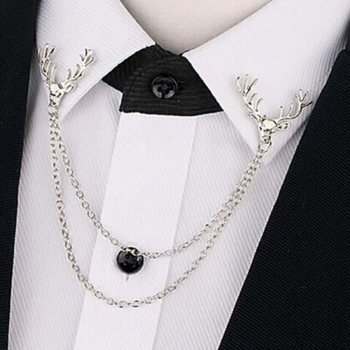 Collar Brooch Pin With Chain Men's Deer Suit Shirt Accessories -silver