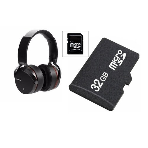 Extra Bass Wireless Bluetooth Headset And 32gb Memory Card