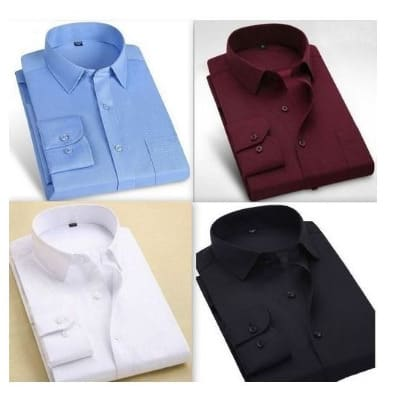 Men's Shirts Bundle - 4 Packs - Sky Blue, Wine, White & Black