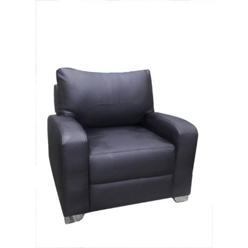 Single Seater Black Leather Sofa