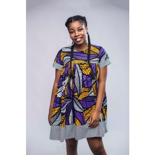 Ankara Mixed Doll Short Dress - African Print Dress - Purple.