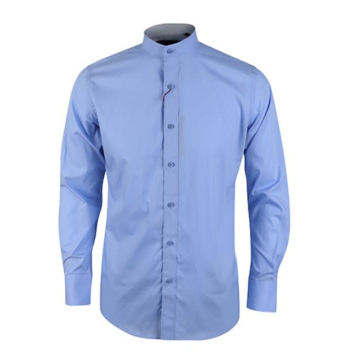 ff0b539b David Wej Mandarin Collar Plain Long Sleeve Shirt - Light Blue ...