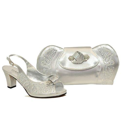 cf343b86da9b Fabiola Leather Shoes And Bag - Silve.