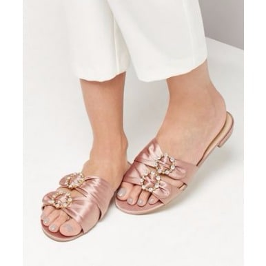 f3bbcc817dac8 Satin Buckle Mules - Pink