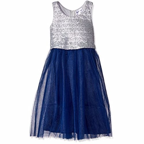d96617138a Sequin Popover Top With Tulle Skirt Dress - Silver-Navy