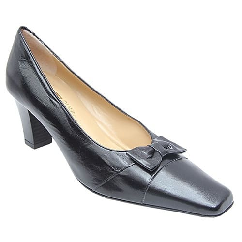 Gianni Costazzurra Shoe With Leather Bow Tie And Medium Cone Heel Black Konga Online Shopping