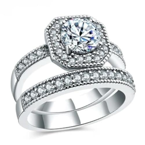 Silver Plated Cubic Zirconia Wedding Ring Set