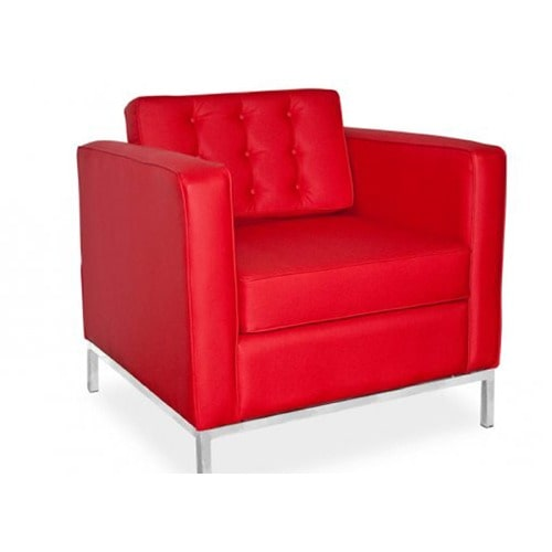 Single Leather Sofa-Red