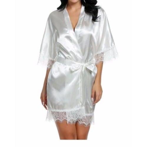 7a16e79ff Sleeve Lace-trimmed Kimono Style Short Robe - White | Konga Online ...