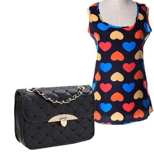 /S/l/Sleeveless-Love-Print-Chiffon-Camisole-Top-Quilted-Handbag---Black-6685878.jpg