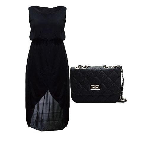 /S/l/Sleeveless-Midi-Long-Chiffon-Hem-Dress-Leather-Cute-Mini-Purse-Bag---Black-8059485.jpg