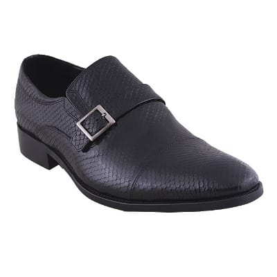 Snake Skin Detailed Leather Shoe With Fancy Buckle - Black - MSH-4376