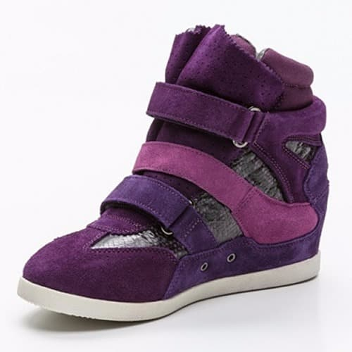 Suede Leather Wedge Sneakers - Purple