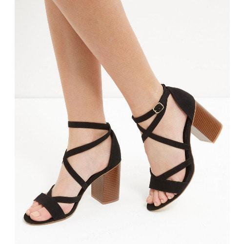 569cdca64233 New Look Suedette Cross Strap Block Heel Sandals-Black