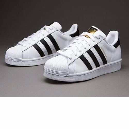 Superstar Sneakers with Gold Logo - White & Black Stripes