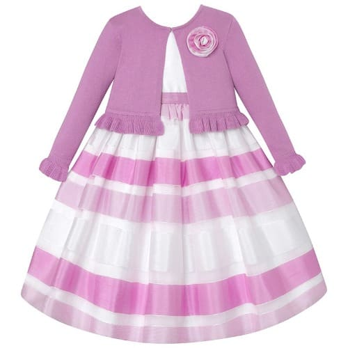 f24c5b335a1b0 American Princess Girl Shadow Stripe Dress   Cardigan Set-purple white