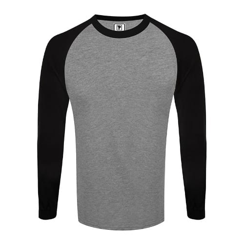 edabec094 Priddi Raglan Long Sleeve T-shirt - Grey   Black