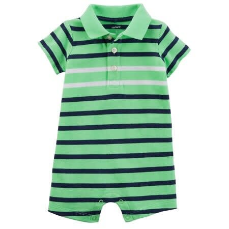 Green And Blue Stripped Polo Romper For Baby Boy