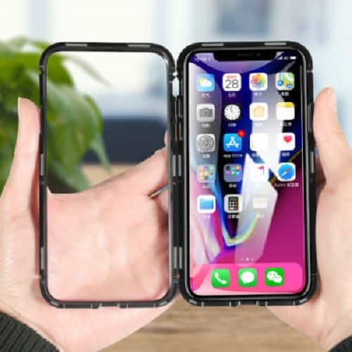 newest 4d05a 45829 Magneto Magnetic Adsorption Case For iPhone X Metal Bumper Tempered Glass  Black