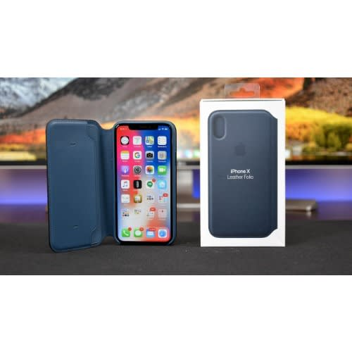 hot sale online cf78c bcae4 Black Apple iPhone XS Max Leather Folio Flip Case