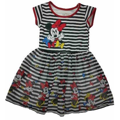 Disney Girls Minnie Mouse Black White Striped Dress Konga